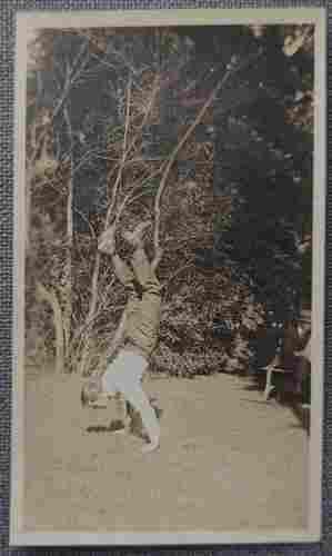 Unusual Man doing Handstand Real Photo Postcard