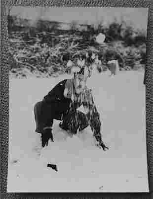Vernacular Photo of a Man being hit by a Snowball