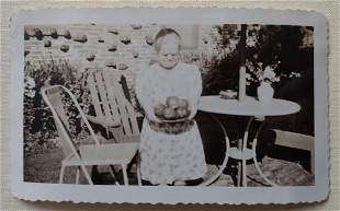 1920's Little Person with Apples Vernacular Photo