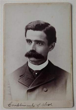 Huge Mustache Illinois 1890's Cabinet Card