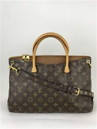 Louis Vuitton Pallas MM Monogram Canvas & Brown Leather