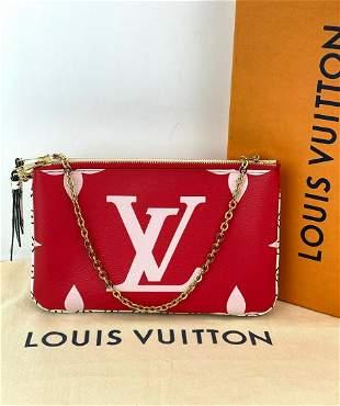 LOUIS VUITTON Monogram Giant Double Zip Pochette Rouge