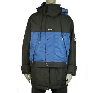Diesel Man Blue Zipper Front Hooded Parka Convertible