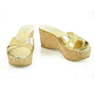 Jimmy Choo Gold Leather Cork Wedge Heel Sandal Platform