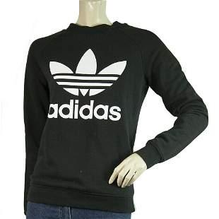 Adidas Black White Logo Activewear Sport Sweatshirt Top
