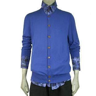 Vivienne Westwood Man Sweater Cotton Knit Blue Cardigan