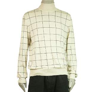 Dunhill Beige Sweater 100% Wool Knit Turtle neck Check