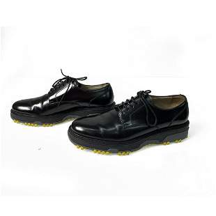 DIOR HOMME Glossy Black Leather Derby Contrast Yellow