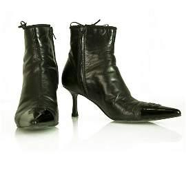 Chanel Black Leather Cap Toe Pointed Toe Kitten Heel