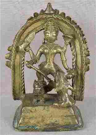 8c Indian bronze DURGA slaying demon Mahishasura