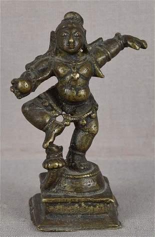 18c Indian bronze DANCING KRISHNA