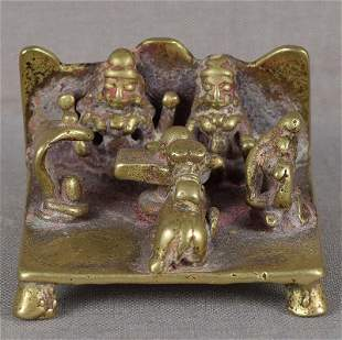 18c Indian bronze SHIVA SHRINE Parvati Ganesha Nandi