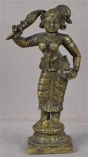 19c Indian bronze SHRUTAKIRTI wife of Shatrughna