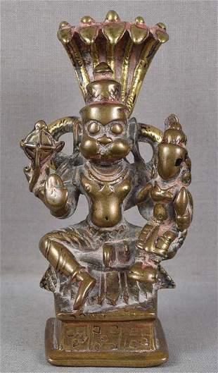 18c Indian bronze VISHNU as NARASIMHA & Lakshmi