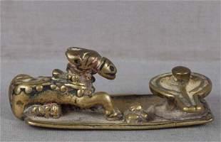 18c Indian bronze NANDI bull & Shiva lingam