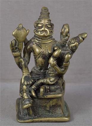 17c Indian bronze VISHNU as NARASIMHA & Lakshmi
