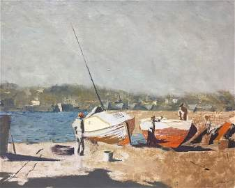 Oil painting Boats Alexey Fedorovich Vlasov