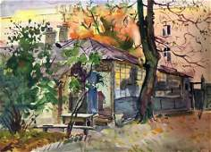 Watercolor painting Kiev Kryzhanivskyi Viktor