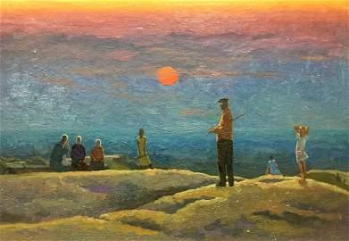 Oil painting People watch the sunset Semenov Alexander