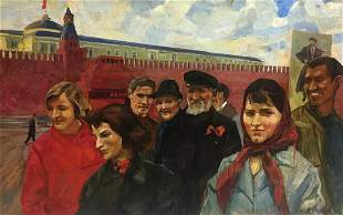 Oil painting On the Red Square Alexander Repka