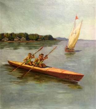 Oil painting Rowers