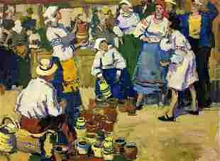 Oil painting On the market Pokulity Konstantin