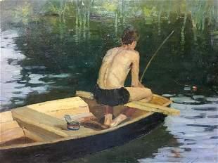 Oil painting Fishing guy Bortnik Igor Petrovich
