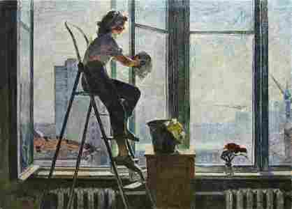 Oil painting Girl washes a window