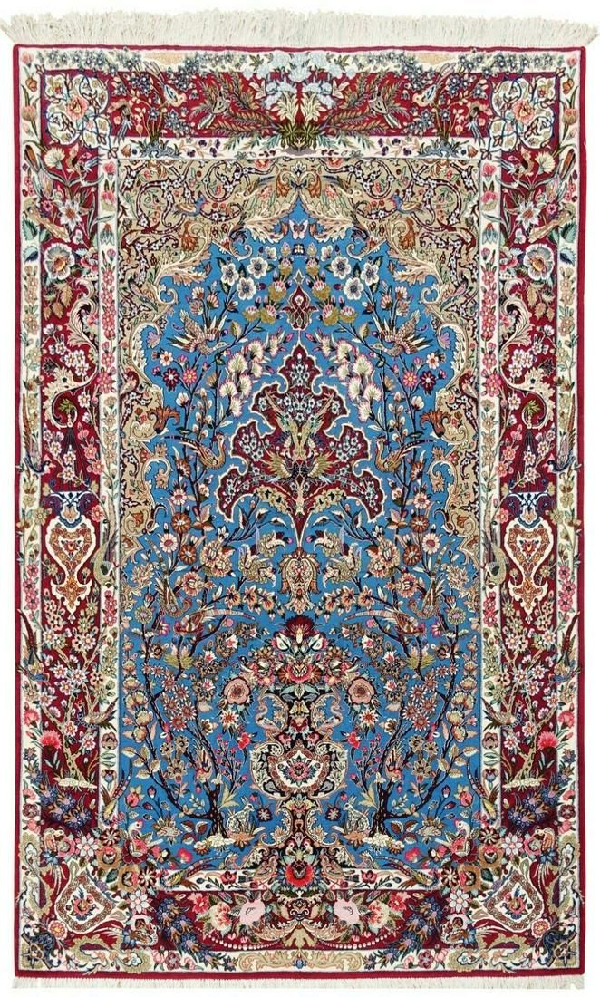 """5'2"""" x 8' Hand Knotted Blue Red Tree of Life Wool Silk"""