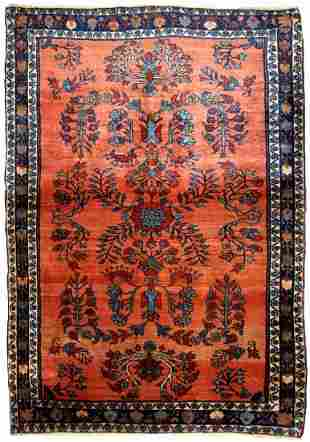 Handmade antique Persian Sarouk rug 3.5' x 5.3' ( 106cm