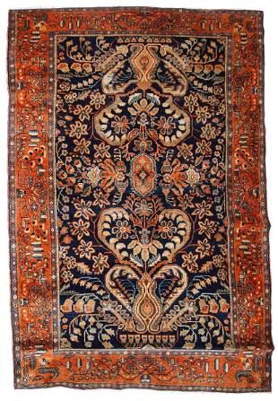 Handmade antique Persian Sarouk rug 4.1' x 6.7' (125cm