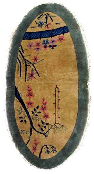 Handmade antique Art Deco Chinese rug 2.1' x 3.2' (64cm
