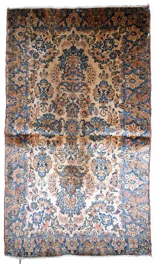 Handmade antique Persian Kerman rug 3.5' x 5.3' (106cm