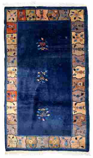 Handmade antique Art Deco Chinese rug 4' X 6.7' (122cm