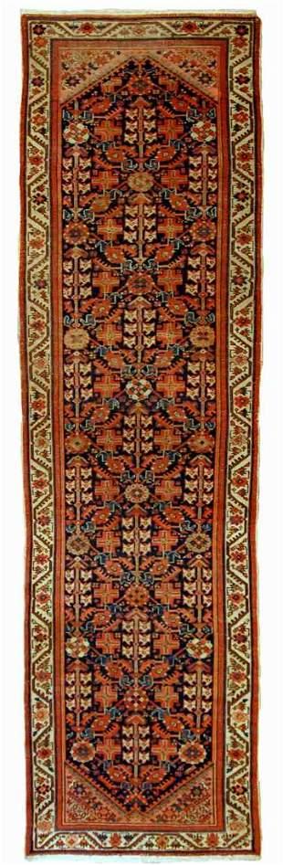Handmade antique Persian Malayer runner 3.1' x 12.3' (