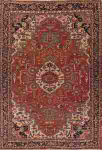 Pre-1900 Antique Vegetable Dye Geometric Heriz Serapi
