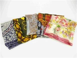 """LUXURY BRANDS"" Lot of 5 luxury pure silk foulards"