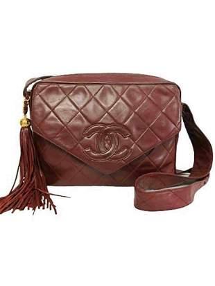 """""""CHANEL"""" Exclusive Bordeaux """"Matelassè"""" leather bag"""