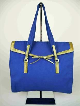 """""""PRADA"""" Shoulder shopper bag, in light blue canvas"""