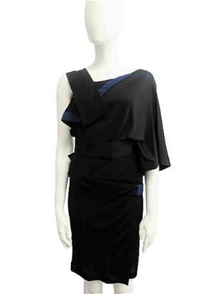 """VIONNET"" Black jersey dress with silk inserts"
