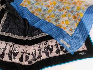 """LUXURY BRANDS"" Lot of 5 pure silk foulards"