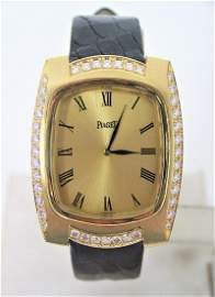 Solid 18k PIAGET Mens Winding Watch with 1.76 ct