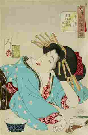 Tsukioka YOSHITOSHI (1839-92) Looking relaxed: The