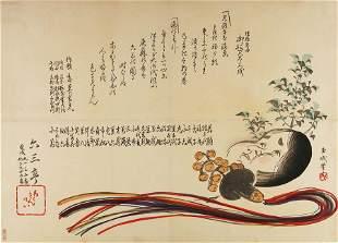 GYOKUMIN (b. 1855) - ? Okame mask, a dancer's bell and