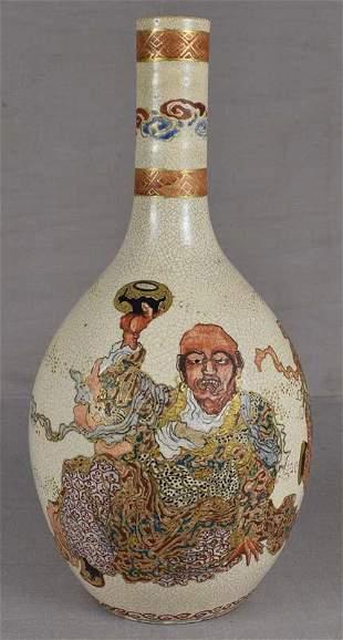 9c Satsuma vase RAKAN with Benten & attendant