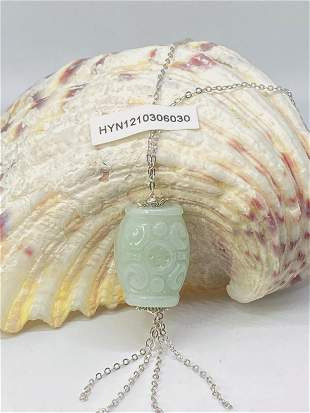 Certified 100% Jadeite Lucky Bead Archaic Amulet silver