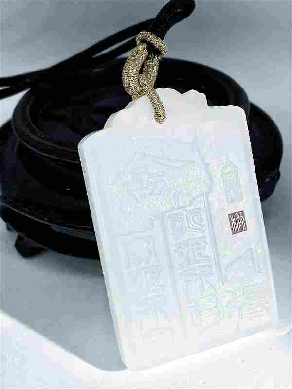 Chinese Natural Nephrite Jade Carved Abnegate & Acquire