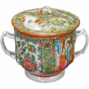 19th C Chinese Rose Medallion Twig Handle Sugar Bowl