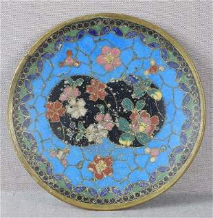 Early 19c Japanese cloisonne small PLATE flowers tea