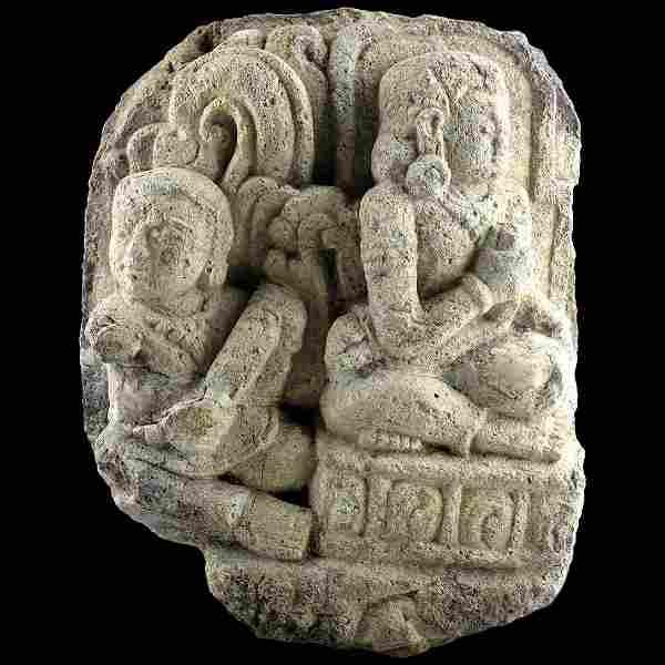 Indonesian Prambanan Hindu stone relief carving ca.